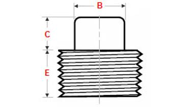 Dimensions Threaded Square Plug