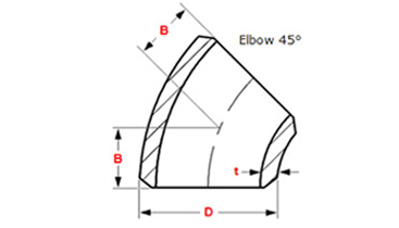 dimensions 45 deg elbow