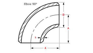 dimensions 90 deg elbow