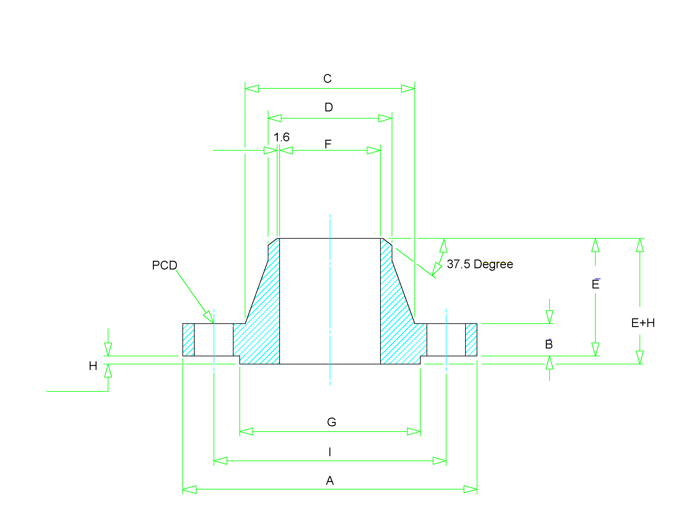 dimensions of weld neck flange