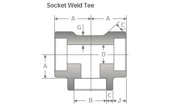 dimensions socketweld tee